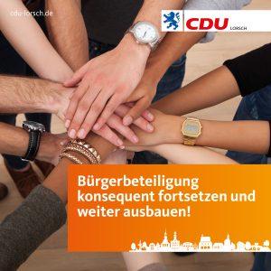 Bürgerbeteiligung konsequent fortsetzen und weiter ausbauen