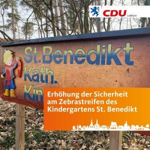 Sicherheit am Zebrastreifen des Kindergartens St. Benedikt erhöhen